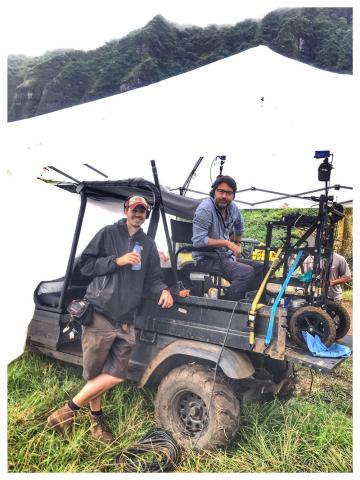 In Hawaii shooting Jurassic World Fallen Kingdom, 2017, with Chris Murphy, my boom operator of 14 years