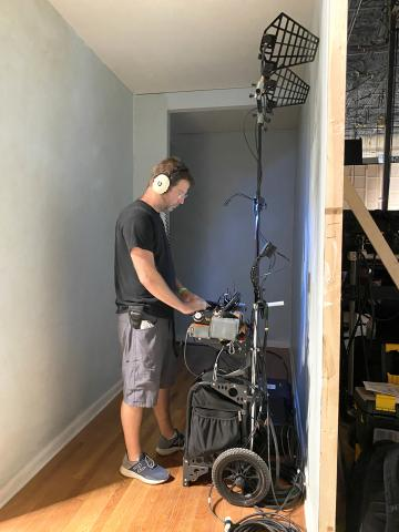Mixing while standing with the Cantar Mini on a Super Zuca cart on NBC TV series Ordinary Joe 202.