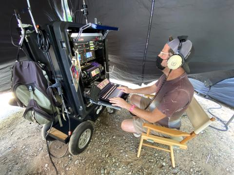 Inside the sound tent doing poor man's process trailer work on NBC TV series Ordinary Joe 2021.