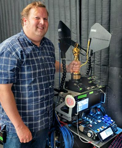 Phillip with his recent Oscar® awarded for Best Sound for the movie Sound of Metal
