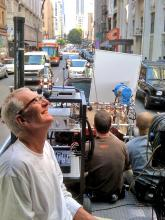 Process trailer, shooting one of the many car commercials I have done, downtown Los Angeles